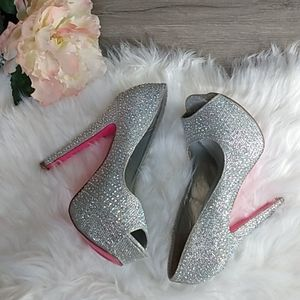 Charlotte Russe silver sparkle heels size 7